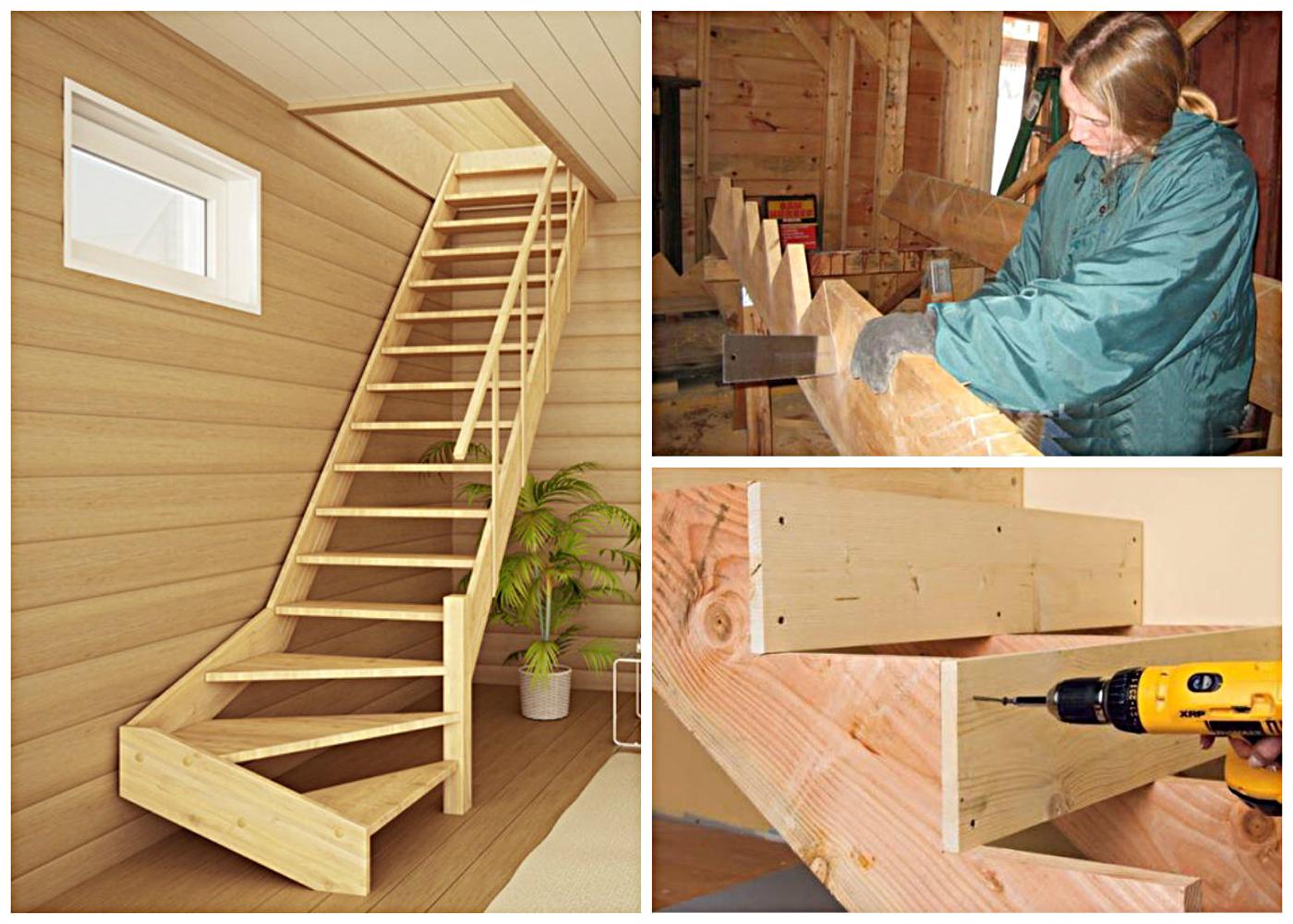 Как сделать деревянную лестницу в доме